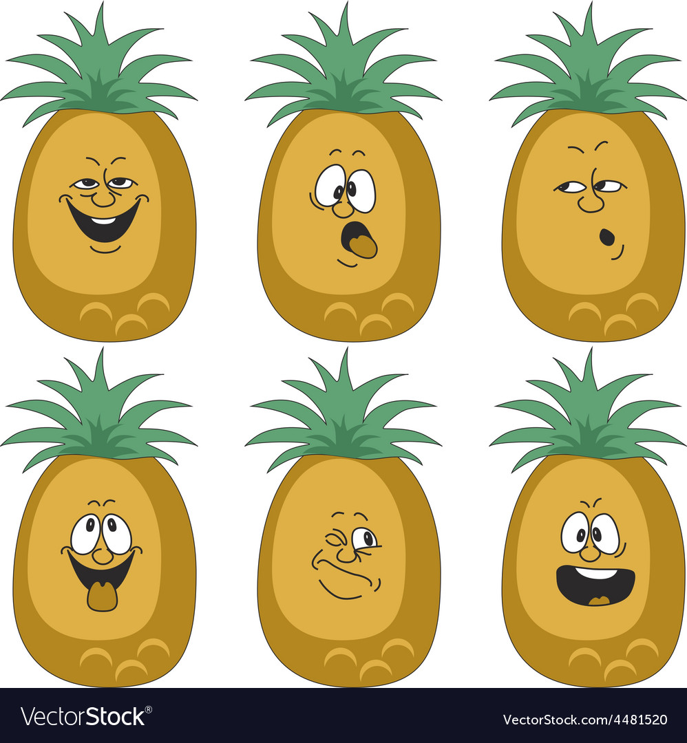 Emotion cartoon pineapple set 012 vector | Price: 1 Credit (USD $1)