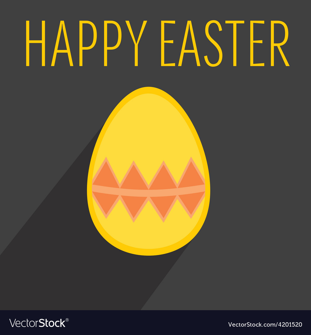 Flat easter egg with yellow wishes vector | Price: 1 Credit (USD $1)