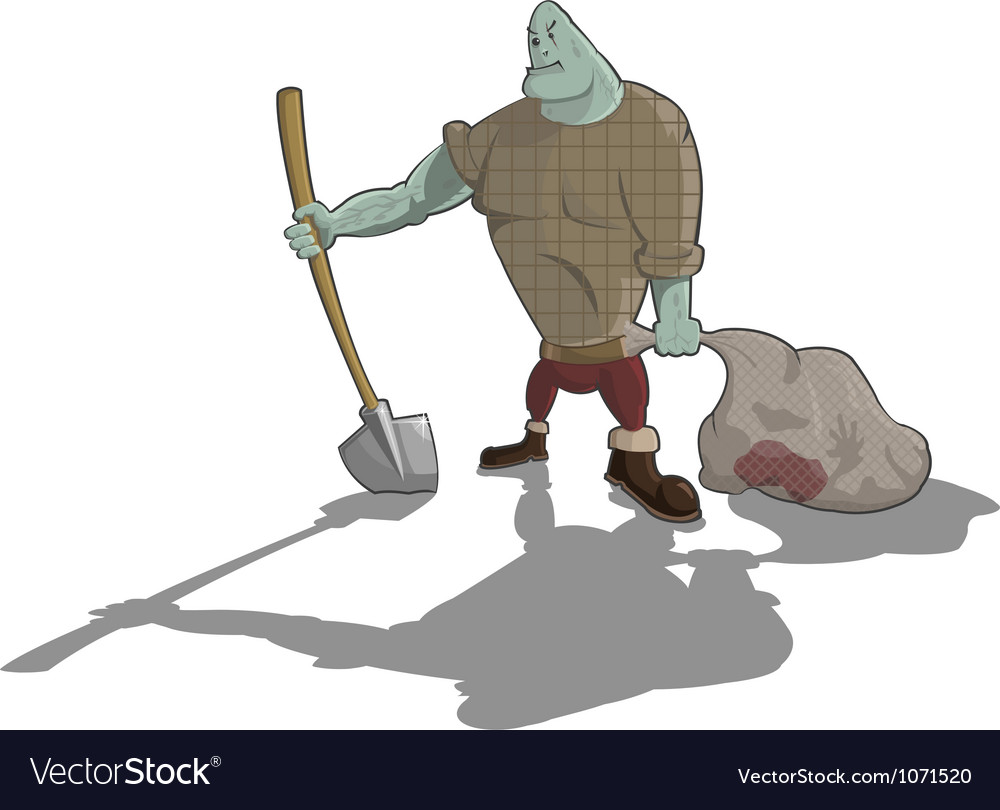 Gravedigger with shovel and sack vector | Price: 3 Credit (USD $3)