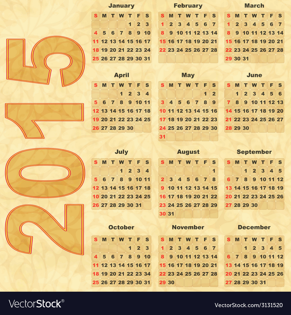 Old paper with calendar 2015 vector | Price: 1 Credit (USD $1)