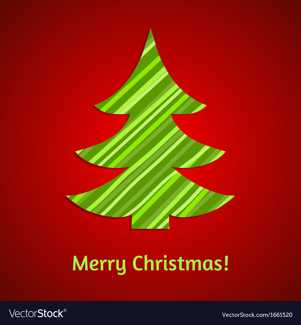 Stylized stripy paper fir tree christmas card vector | Price: 1 Credit (USD $1)