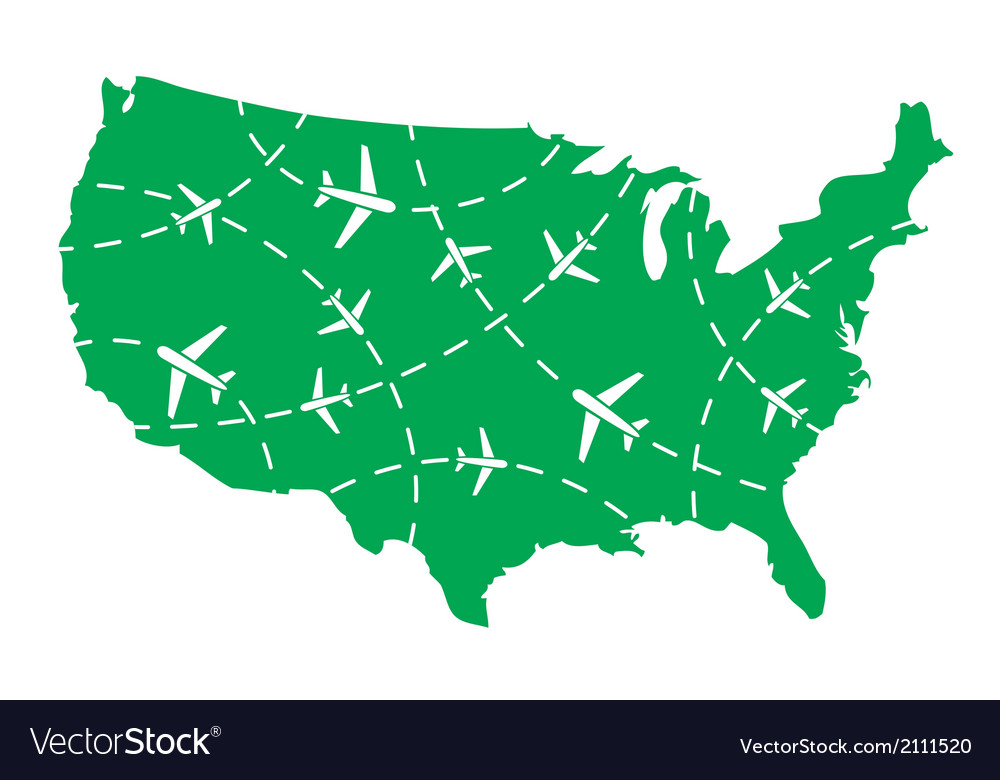 Usa map with airplane routes vector | Price: 1 Credit (USD $1)