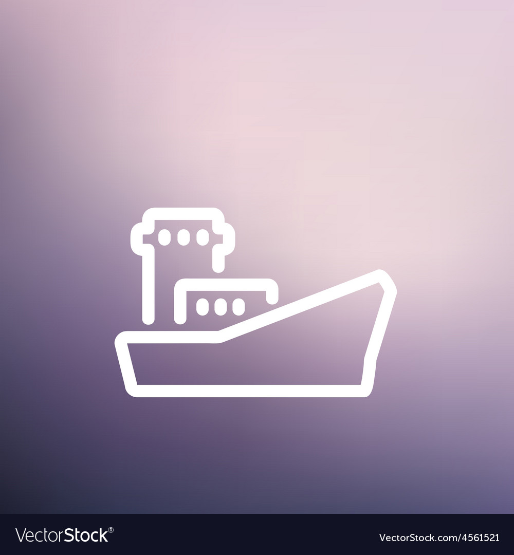 Cargo vessel thin line icon vector | Price: 1 Credit (USD $1)