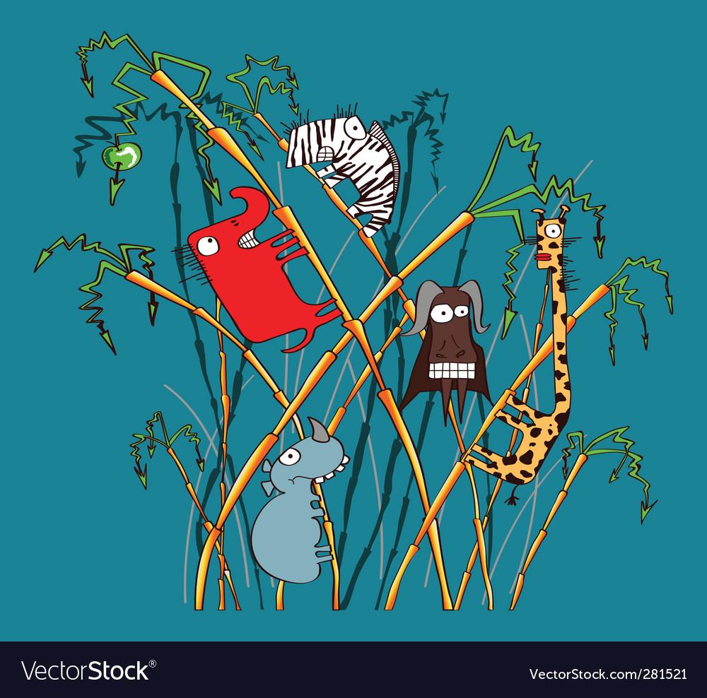 Cartoon safari animals vector | Price: 3 Credit (USD $3)