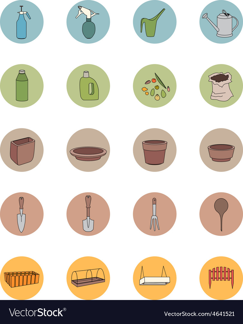 Gardening tools sef of icons vector