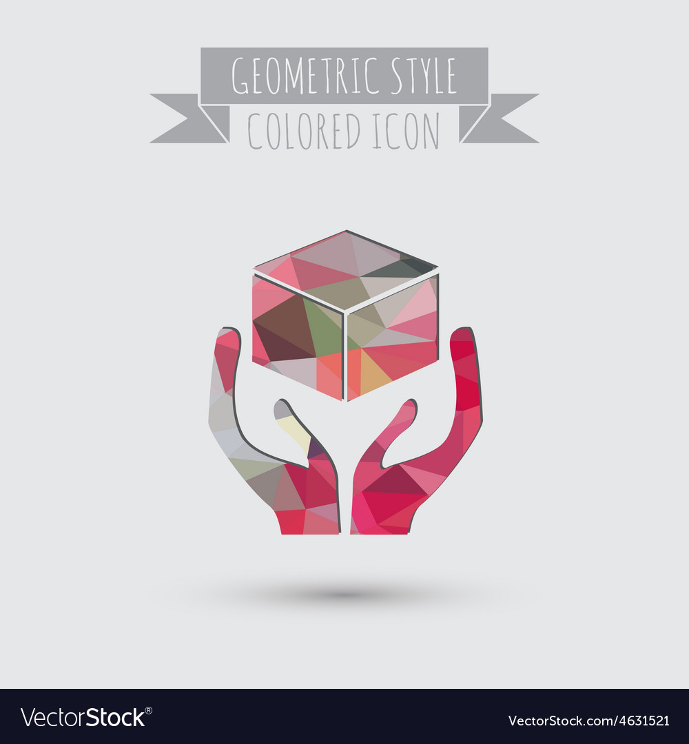 Hands holding box logistic icon vector | Price: 1 Credit (USD $1)