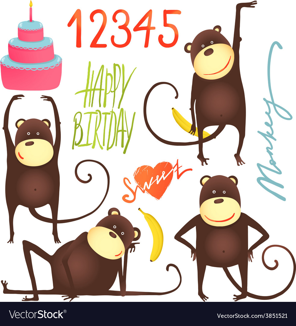 Monkey fun cartoon in poses with birthday vector | Price: 1 Credit (USD $1)
