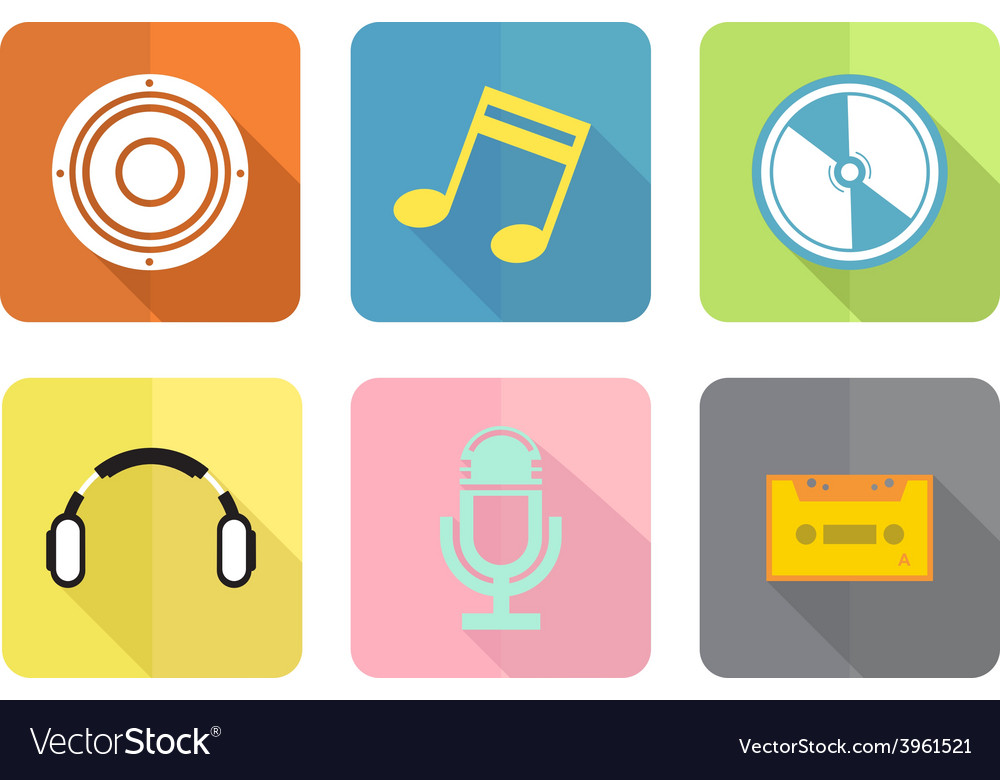 Music flat icon set vector | Price: 1 Credit (USD $1)