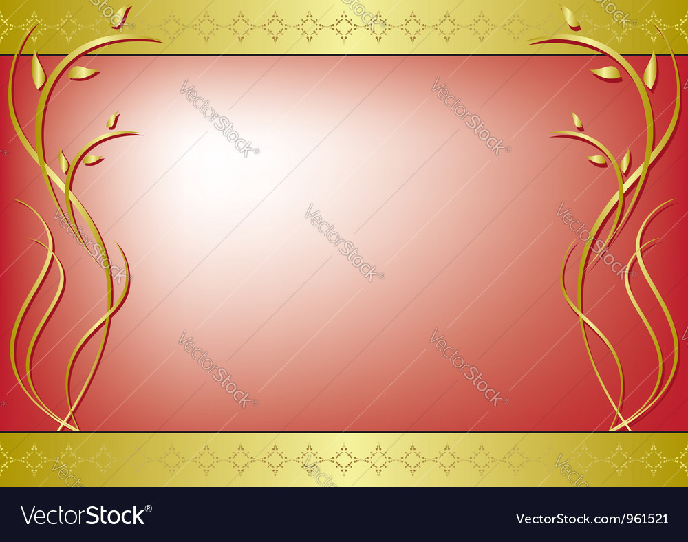 Red frame with golden decor vector | Price: 1 Credit (USD $1)