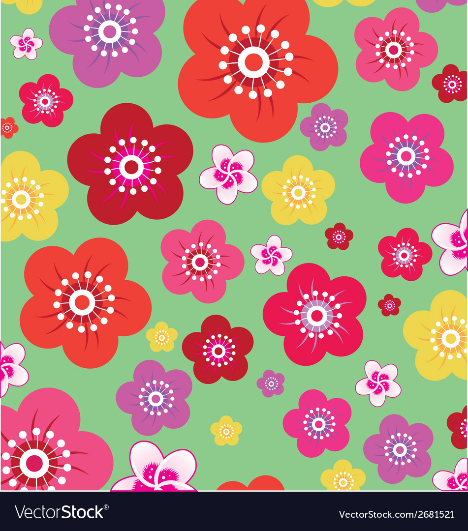 Seamless flower pattern vector | Price: 1 Credit (USD $1)
