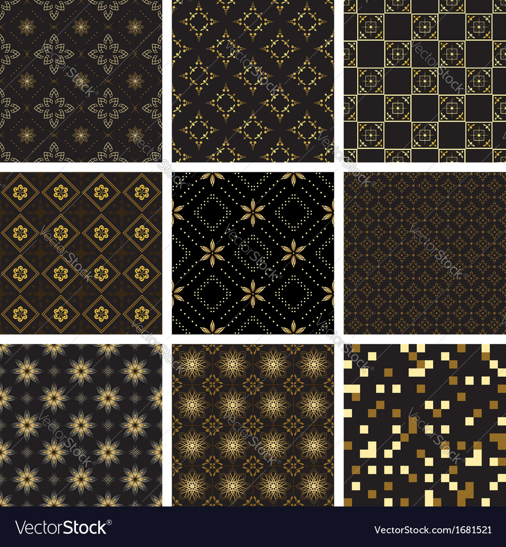 Set of black geometric seamless textures vector   Price: 1 Credit (USD $1)