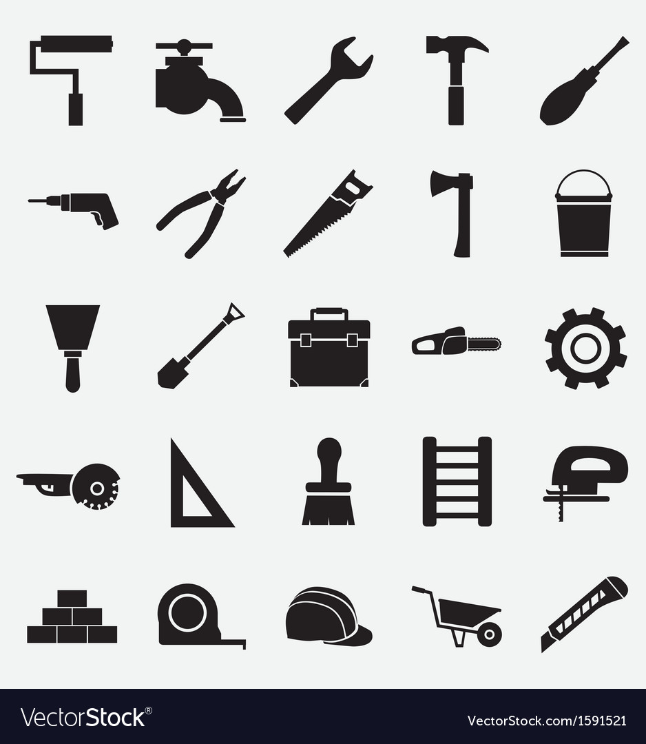 Set of construction tools icons vector | Price: 1 Credit (USD $1)