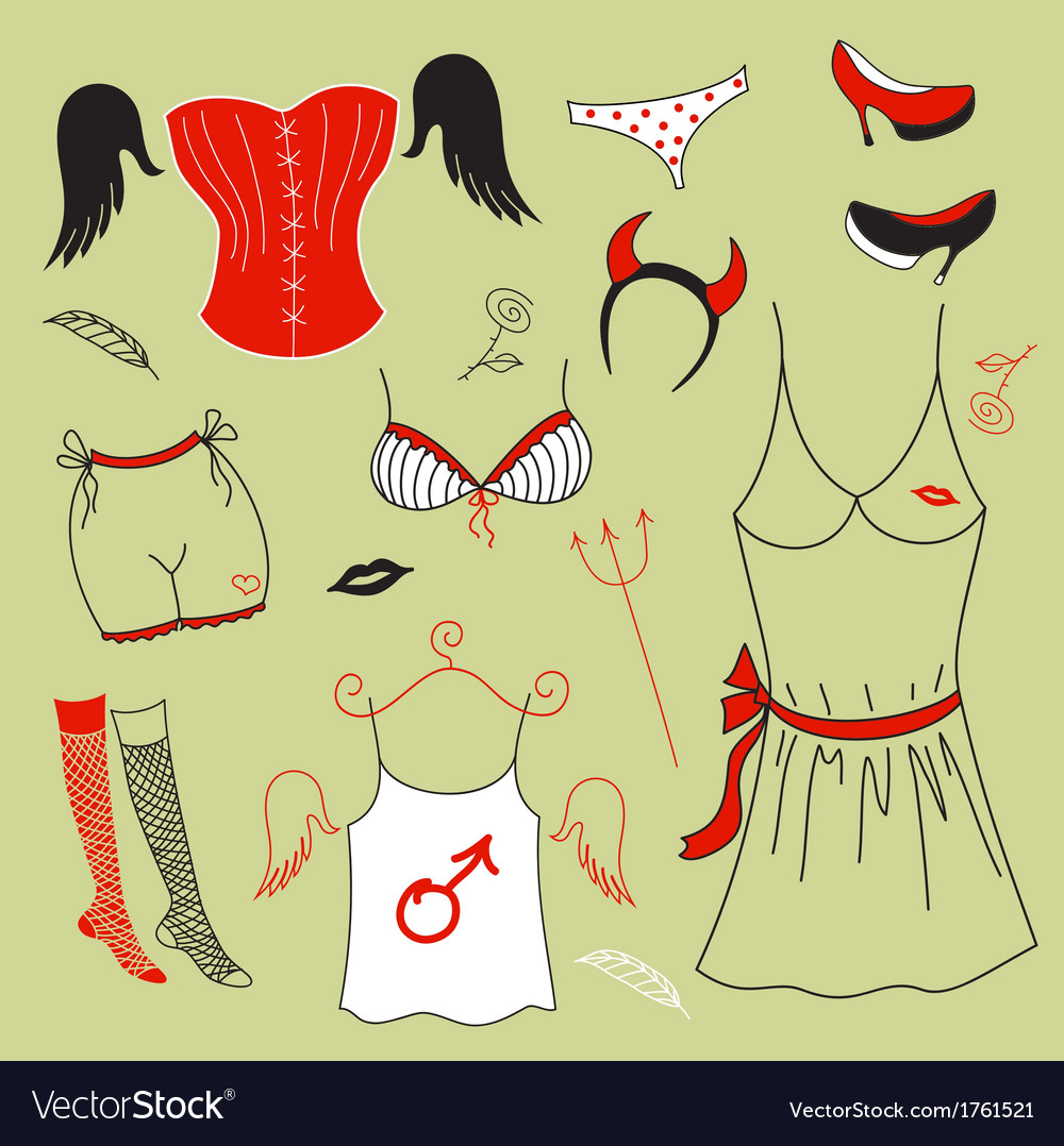 Set woman fashion clothes vector | Price: 1 Credit (USD $1)