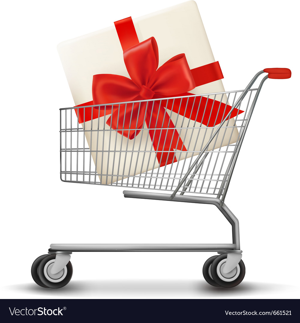 Shopping cart and gift box vector | Price: 3 Credit (USD $3)