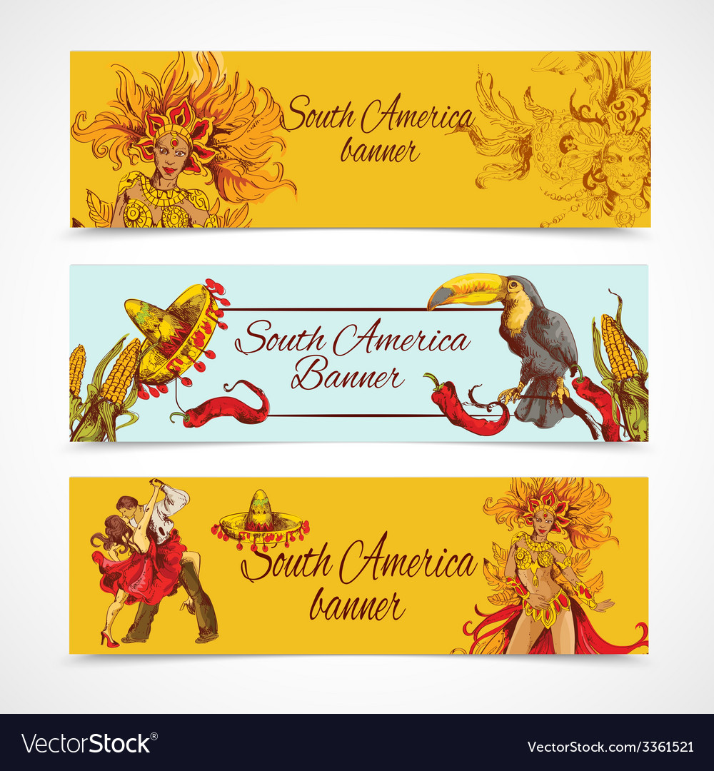 South america banners set vector | Price: 1 Credit (USD $1)