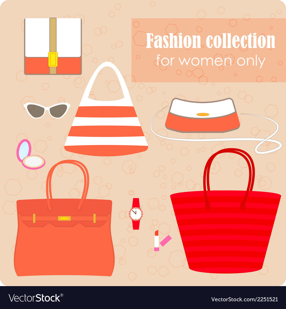 Womens fashion collection of bags and accessories vector | Price: 1 Credit (USD $1)