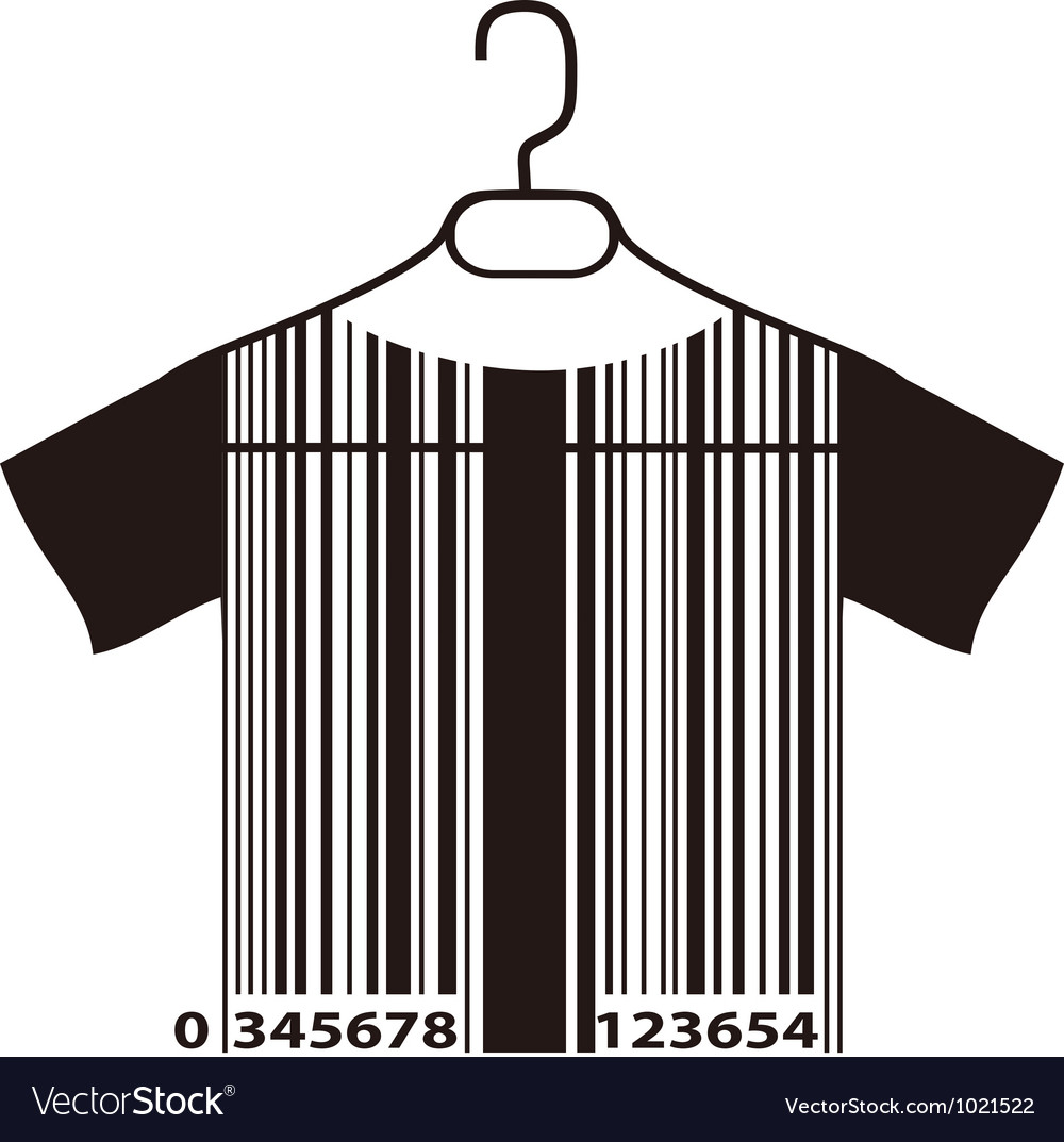 Barcode t-shirt on cloth hanger vector | Price: 1 Credit (USD $1)