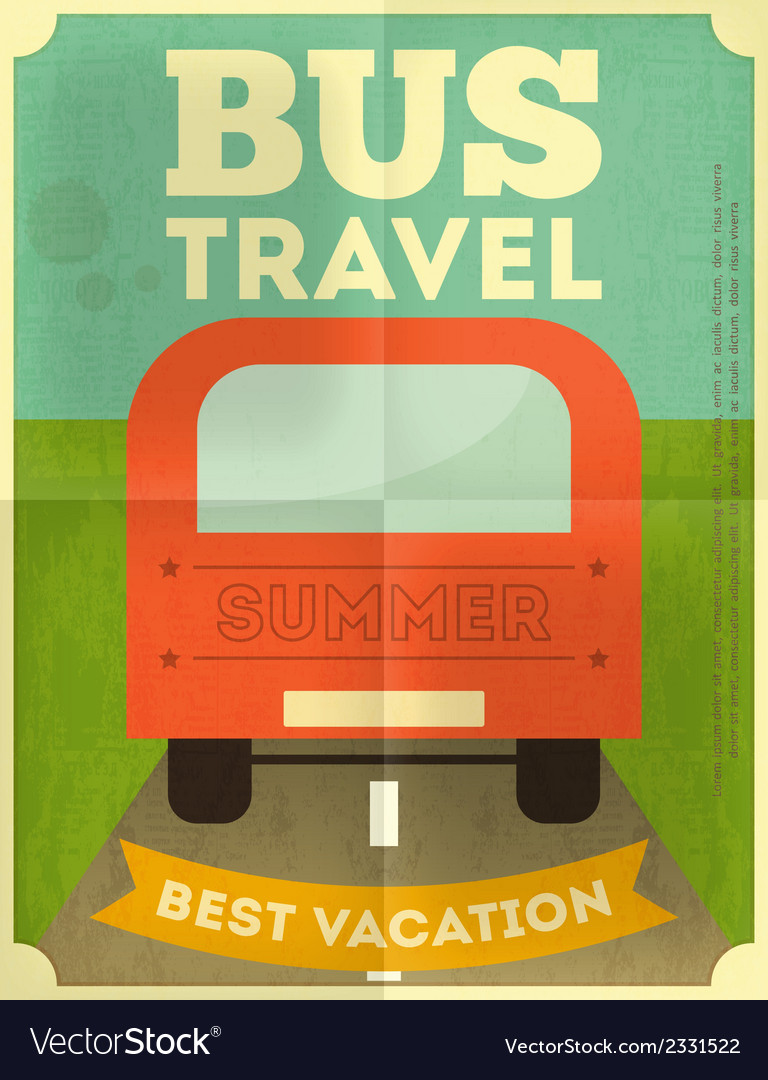 Bus travel poster vector | Price: 1 Credit (USD $1)