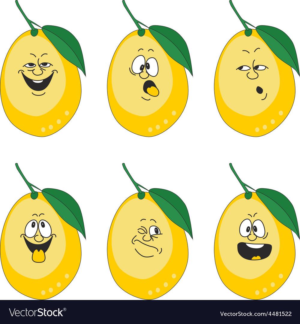 Emotion cartoon yellow lemon set 013 vector | Price: 1 Credit (USD $1)