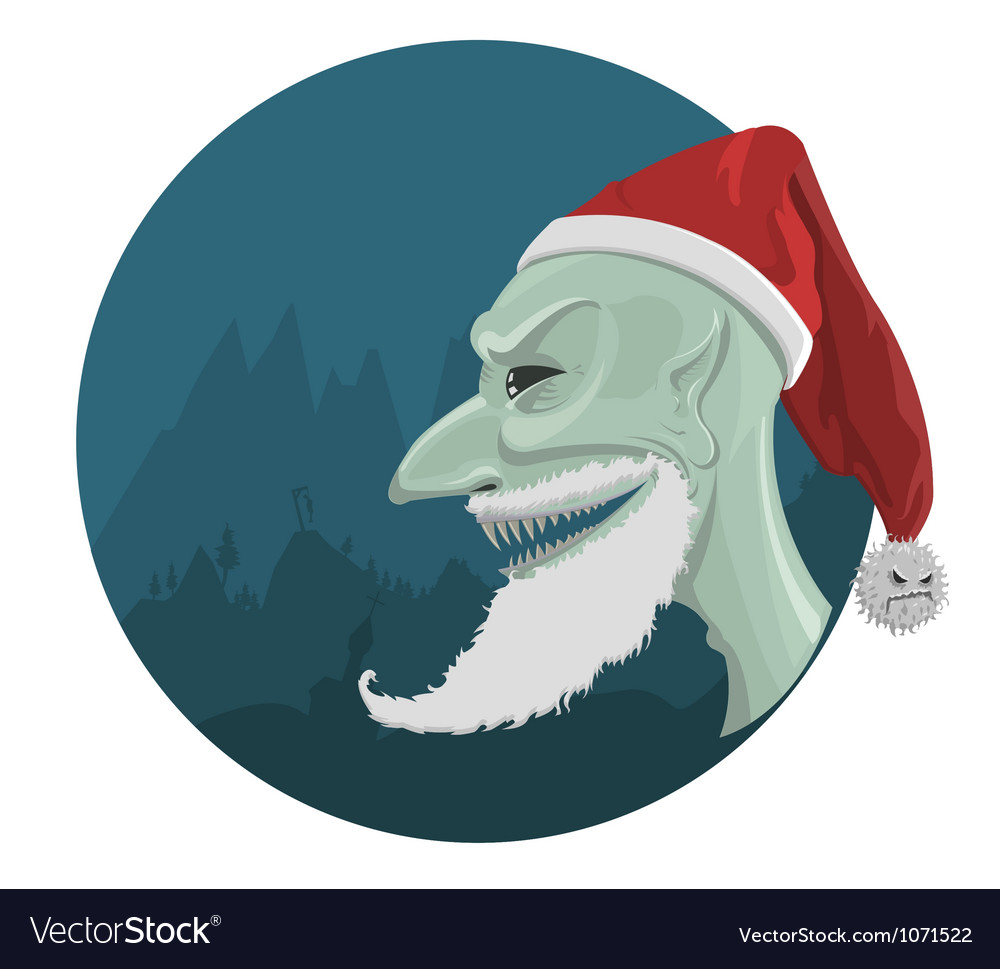 Evil santa claus in red hat vector | Price: 3 Credit (USD $3)