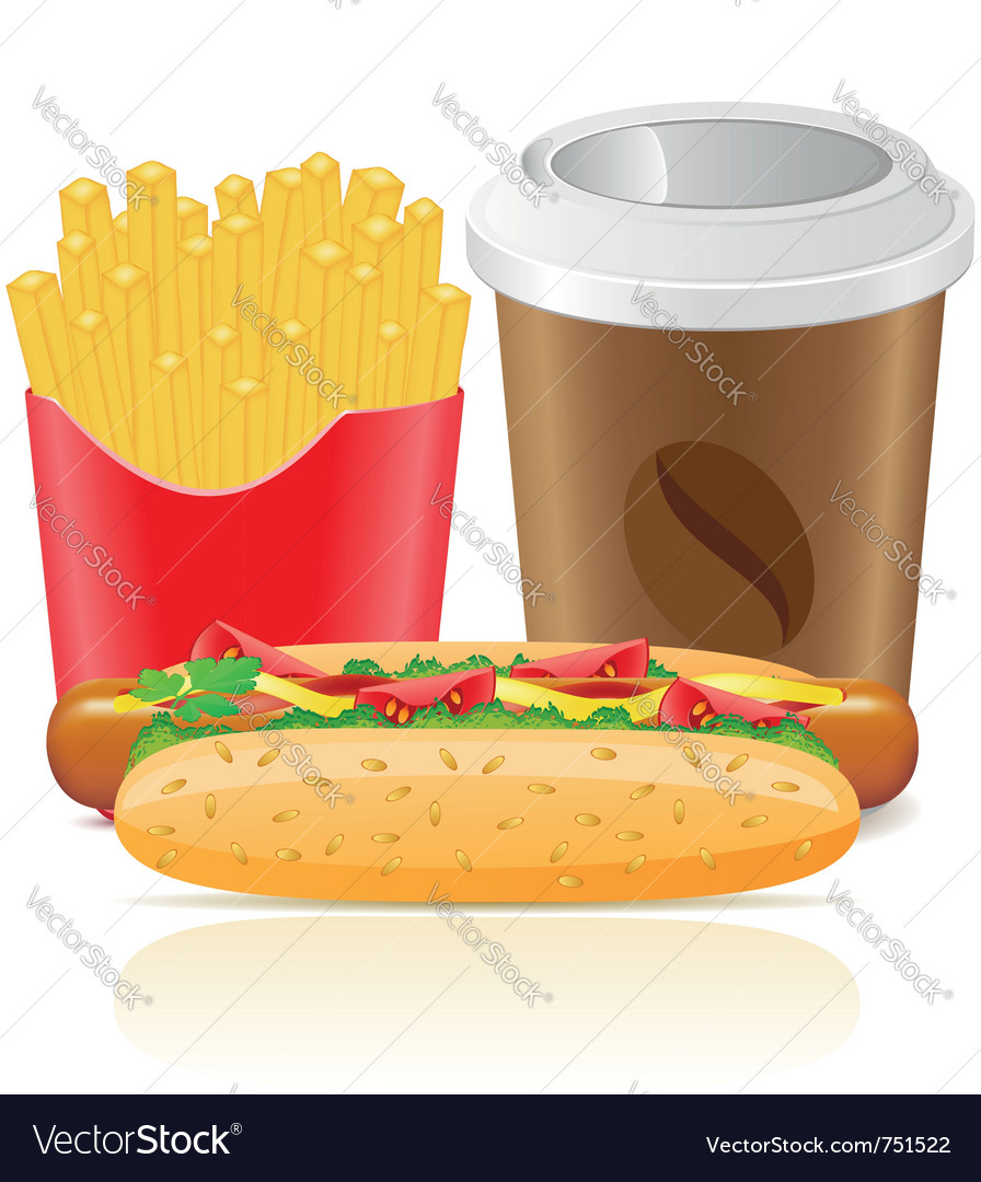 Hotdog fries potato and paper cup with coffee vector | Price: 3 Credit (USD $3)