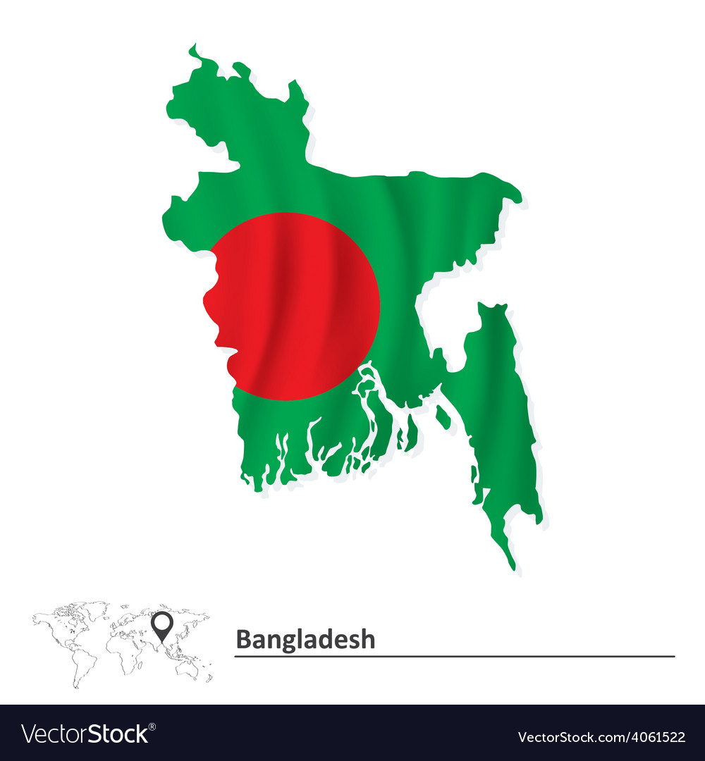 Map of bangladesh with flag vector | Price: 1 Credit (USD $1)