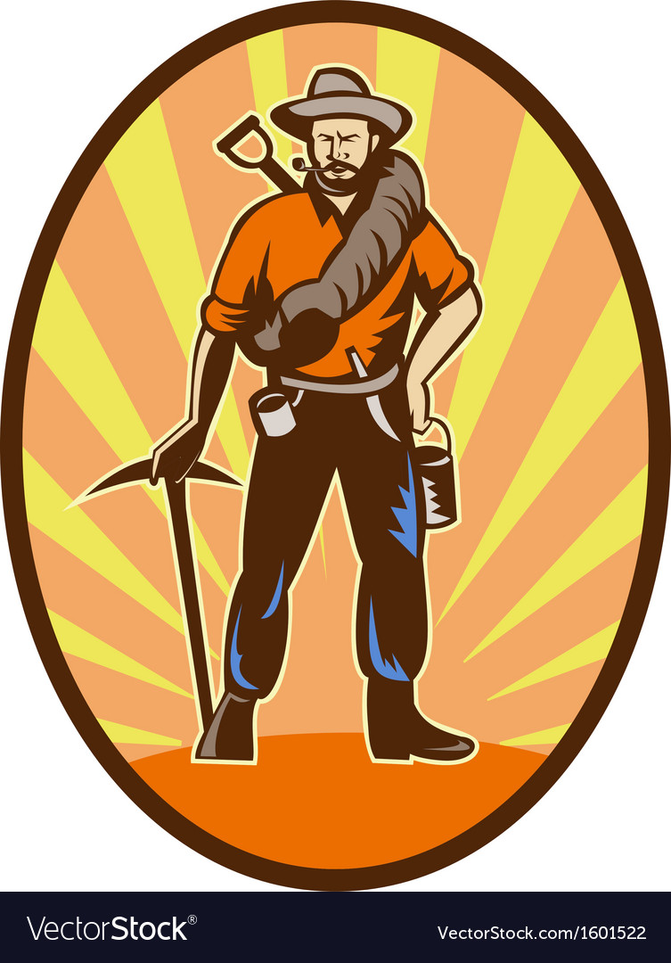 Miner prospector or gold digger with pick axe and vector | Price: 1 Credit (USD $1)