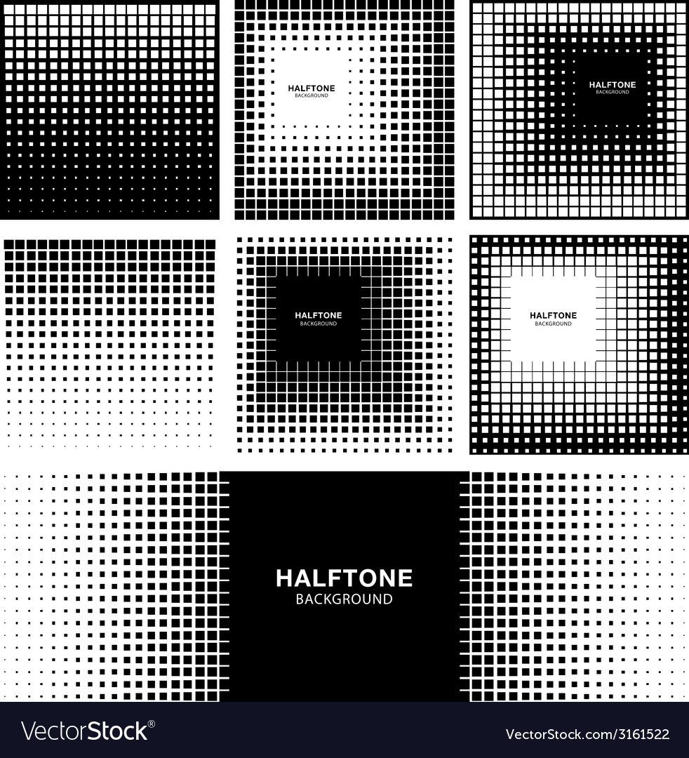 Set of abstract halftone square backgrounds vector | Price: 1 Credit (USD $1)
