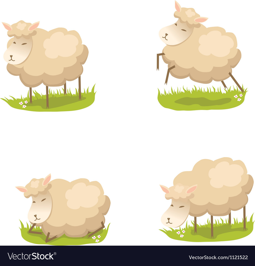 Set of cute lambs vector | Price: 1 Credit (USD $1)