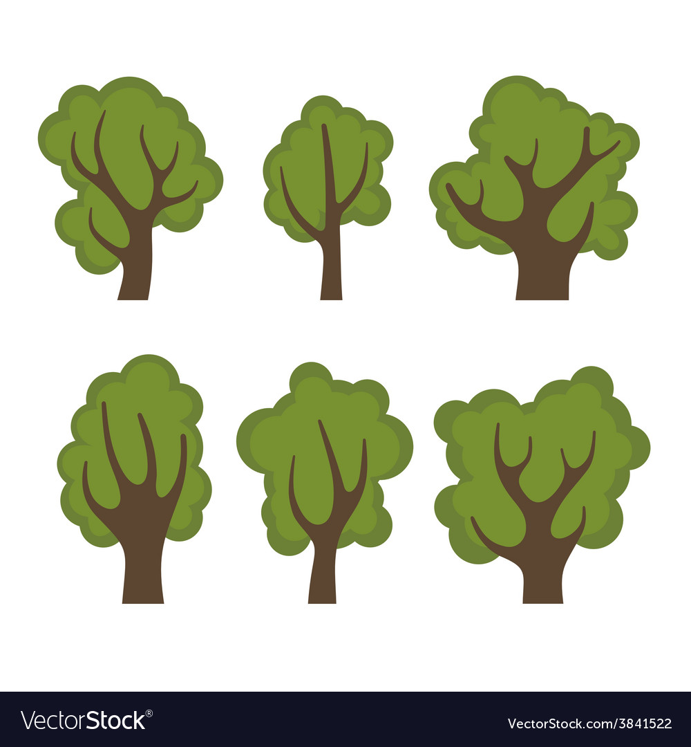 Set of different green trees cartoon style vector | Price: 1 Credit (USD $1)