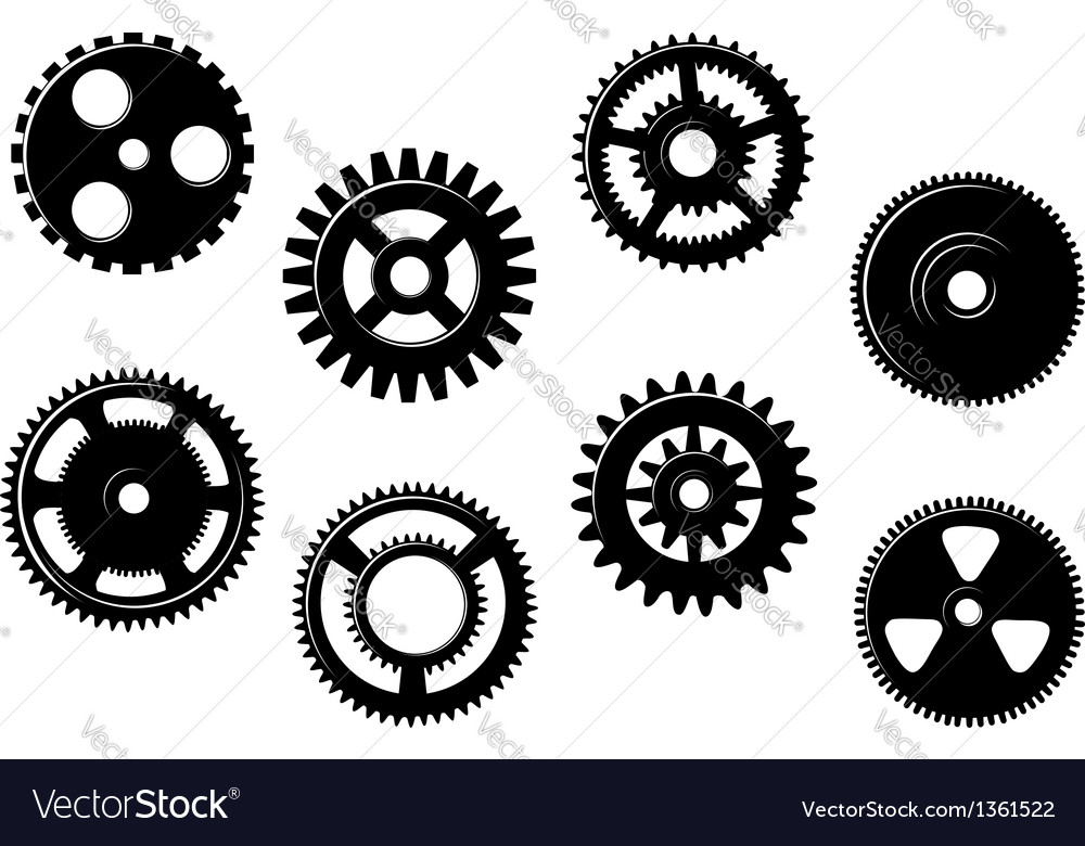 Set of gears and pinions vector | Price: 1 Credit (USD $1)
