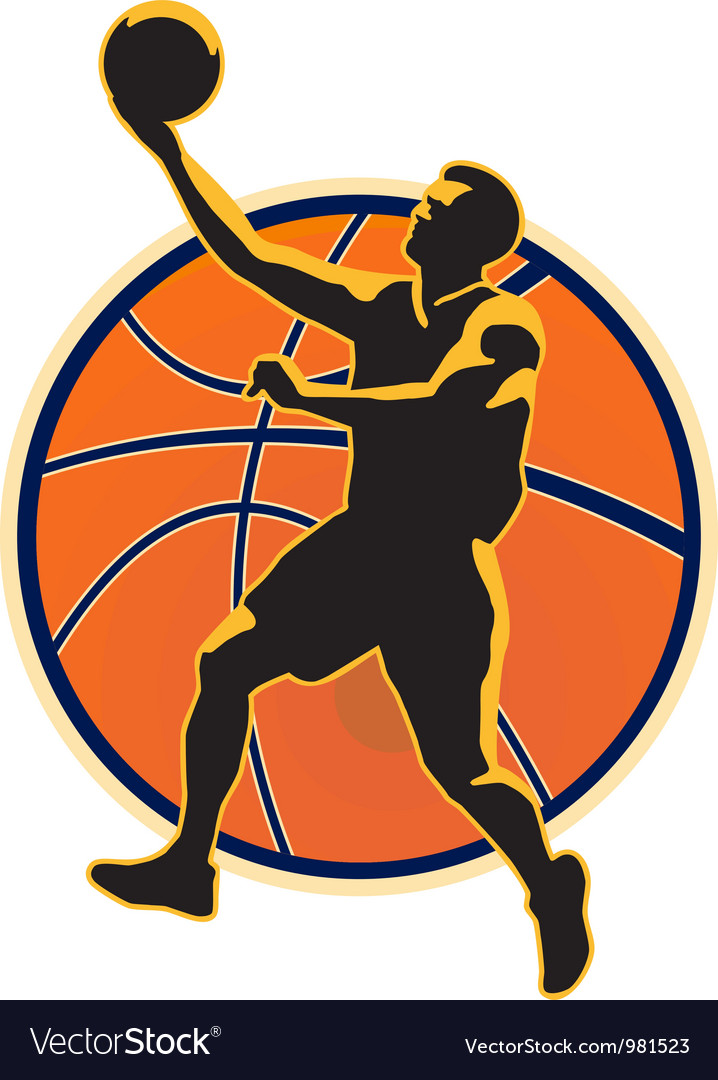 Basketball player lay up ball vector | Price: 1 Credit (USD $1)