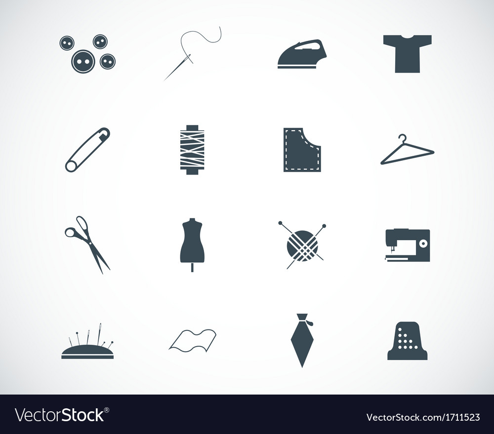 Black sewing icons set vector | Price: 1 Credit (USD $1)