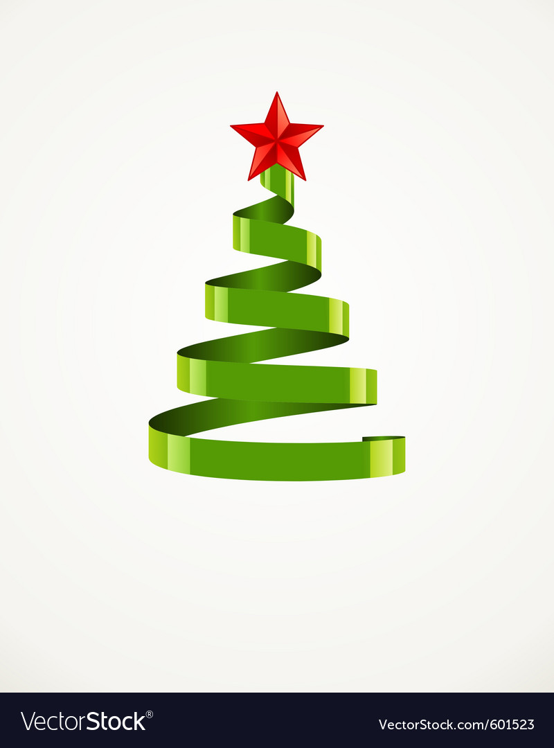 Christmas tree from ribbon with star vector | Price: 1 Credit (USD $1)