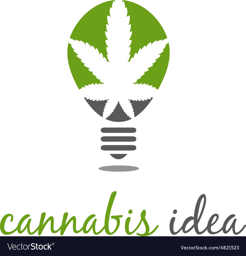 Concept of idea bulb with cannabis vector