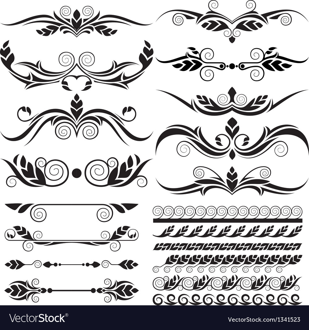 Floral page decoration design elements vector | Price: 1 Credit (USD $1)