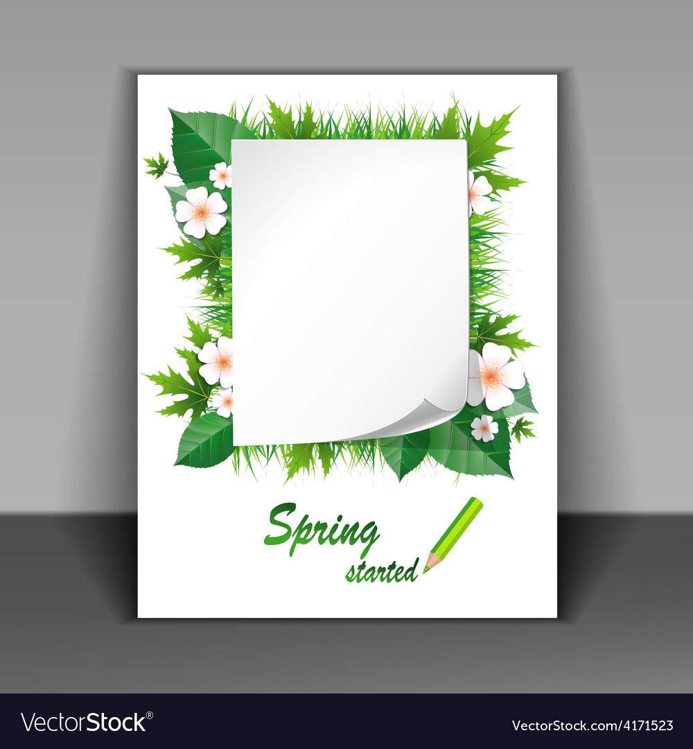 Flyer with grass and flowers vector | Price: 3 Credit (USD $3)