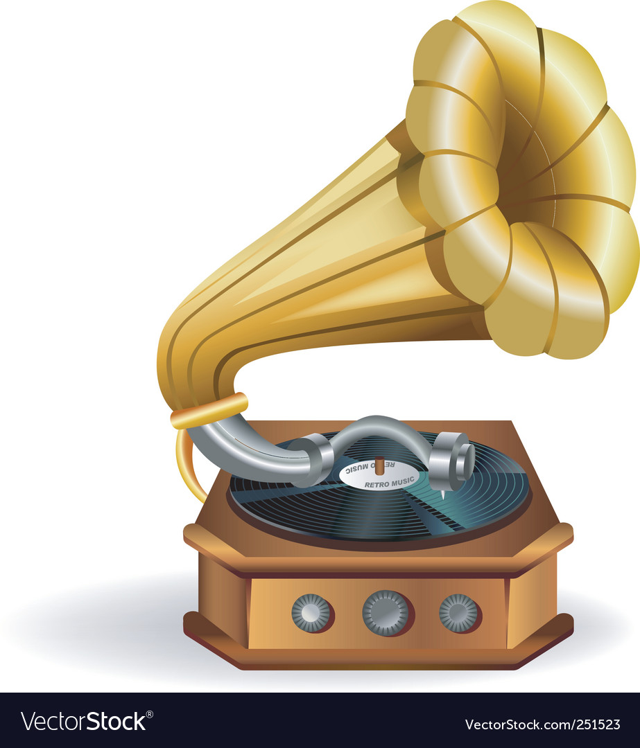 Gold gramophone vector | Price: 3 Credit (USD $3)