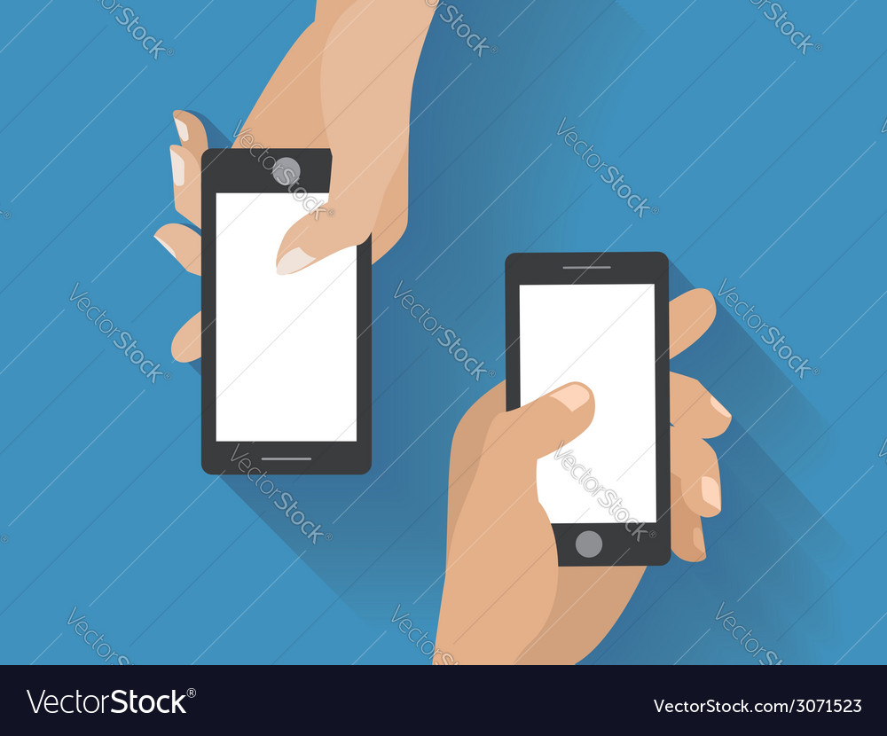 Hands holing smartphones vector | Price: 1 Credit (USD $1)