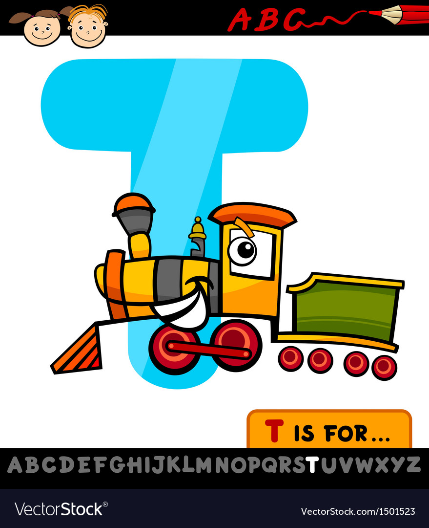 Letter t with train cartoon vector | Price: 1 Credit (USD $1)