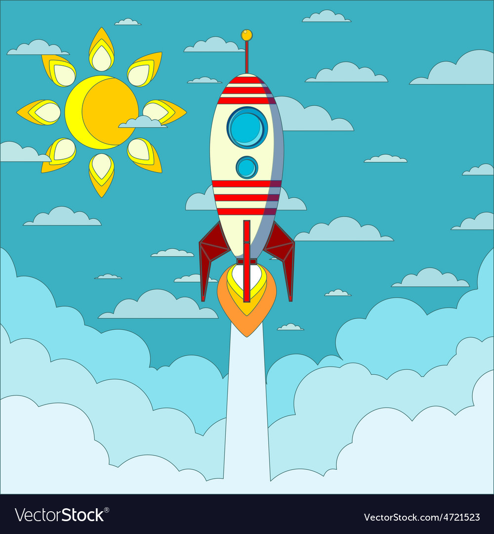 Rocket on the blue sky vector | Price: 1 Credit (USD $1)