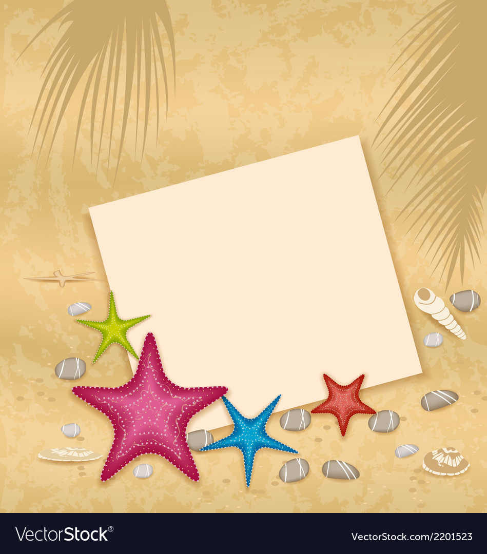 Sand background with paper card starfishes pebble vector | Price: 1 Credit (USD $1)