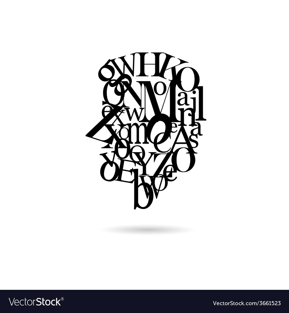 Typography man silhouette vector | Price: 1 Credit (USD $1)