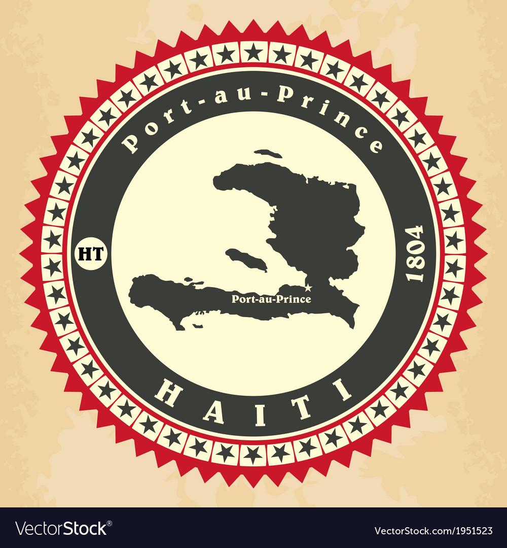 Vintage label-sticker cards of haiti vector | Price: 1 Credit (USD $1)