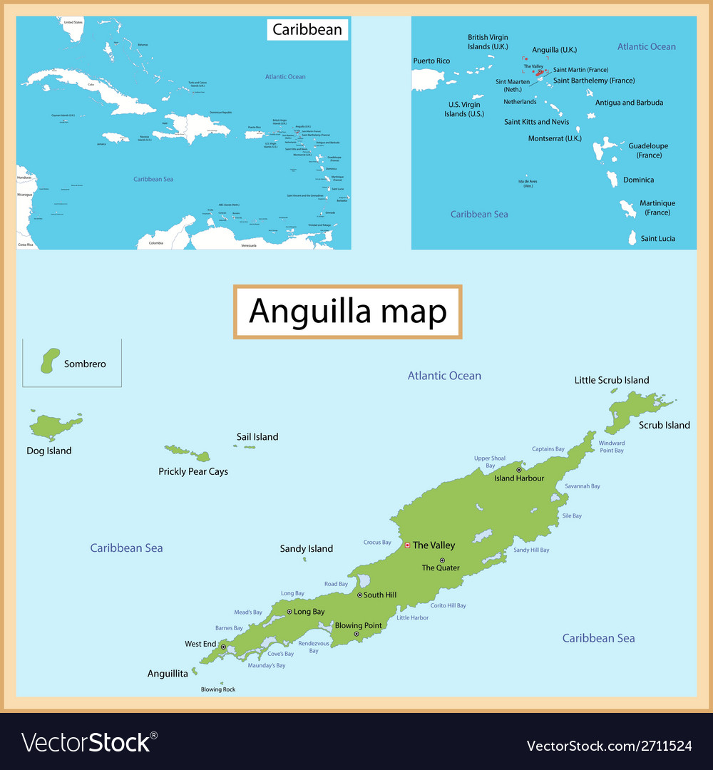 Anguilla map vector | Price: 1 Credit (USD $1)