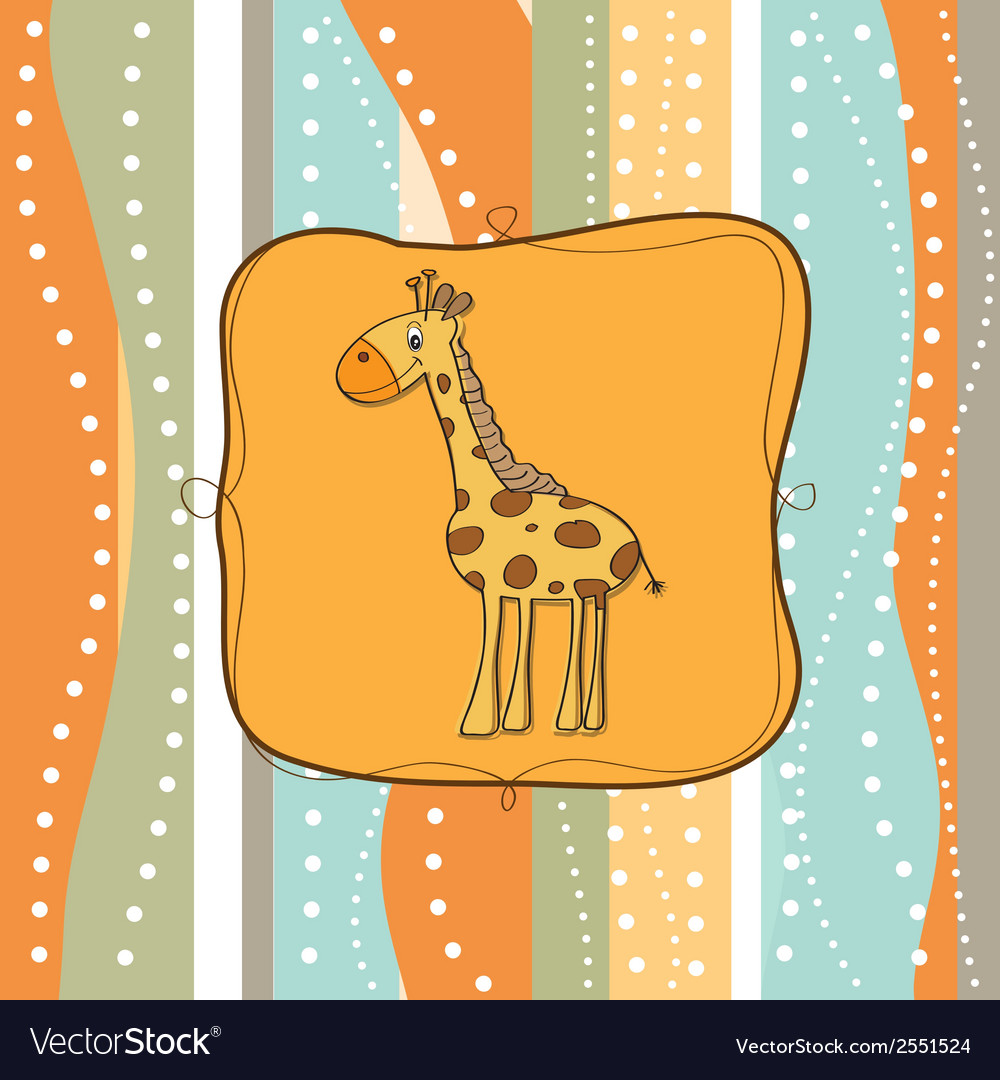 Childish greeting card with giraffe vector | Price: 1 Credit (USD $1)