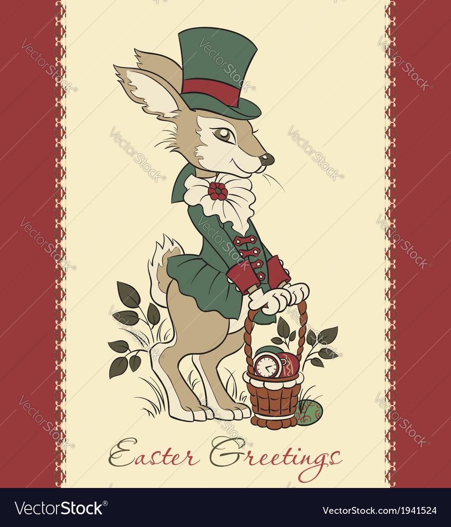 Easter retro card with rabbit vector | Price: 1 Credit (USD $1)