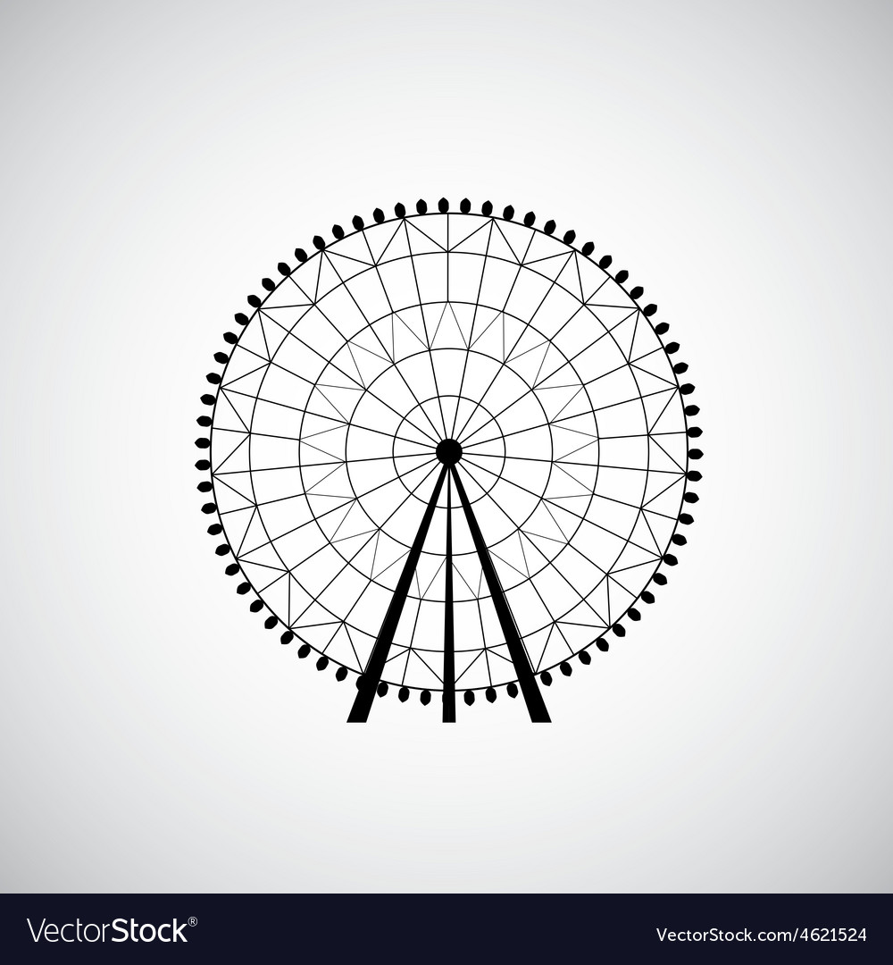 Ferris wheel from amusement park silhouette vector | Price: 1 Credit (USD $1)