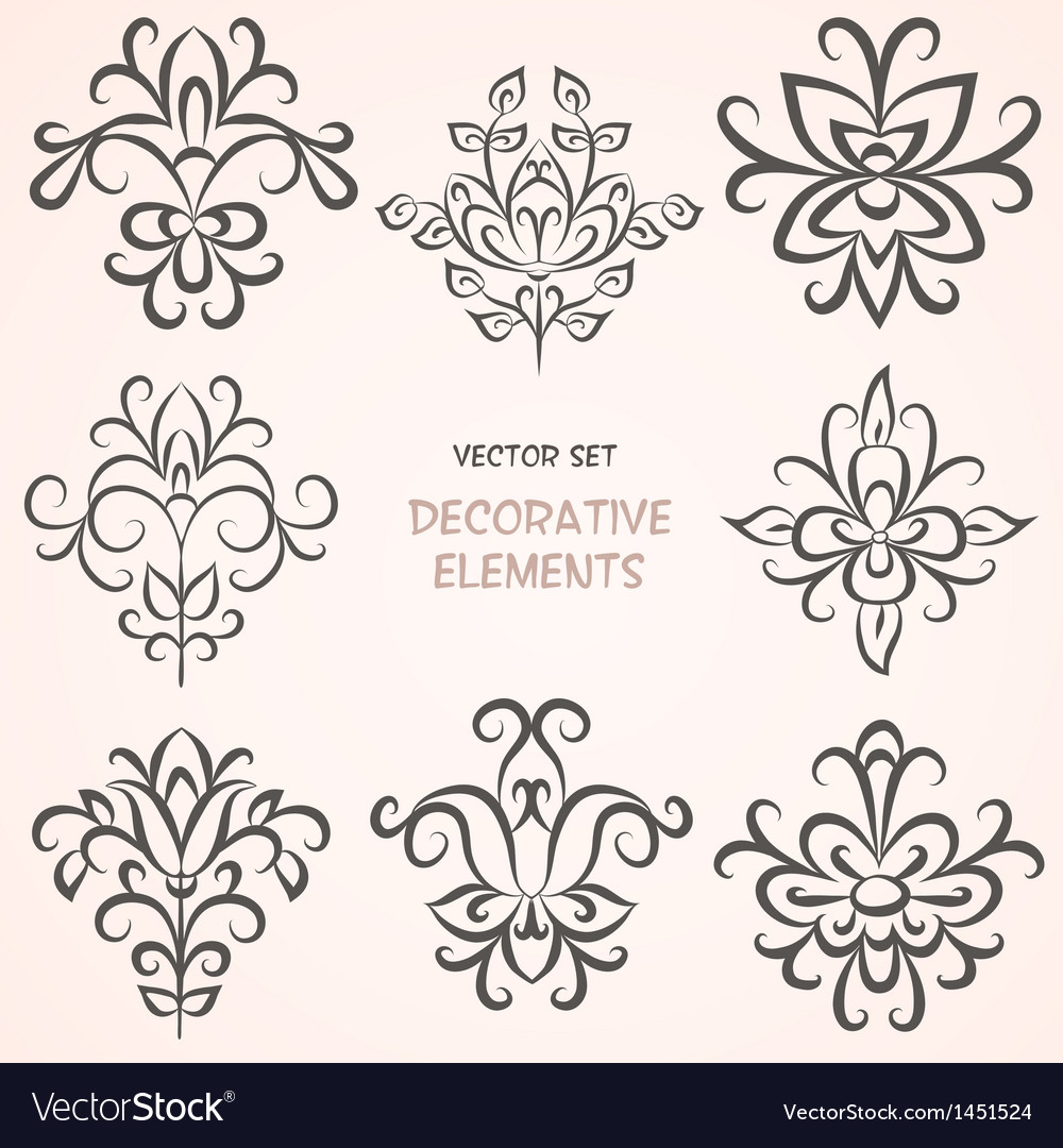 Floral decorative ethnic elements vector | Price: 1 Credit (USD $1)