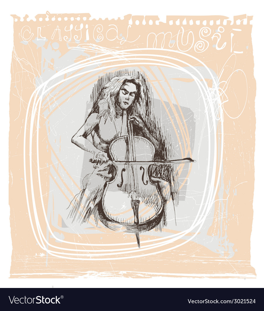 Girl playing the cello vector | Price: 1 Credit (USD $1)